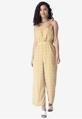 FabAlley yellow Yellow Floral Strappy Frilled Jumpsuit 58F48AA528A079GS_1