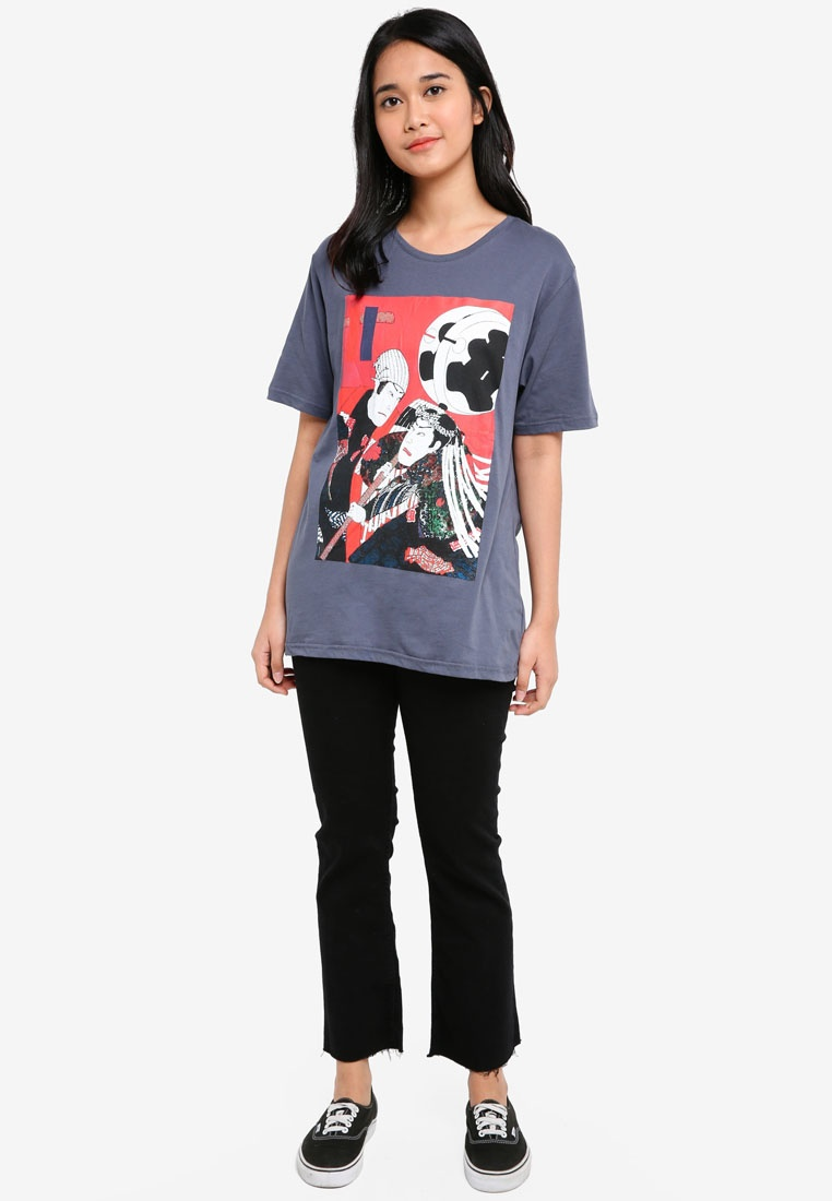 Tee Graphic Japanese Character UniqTee Grey wqf1WpP1