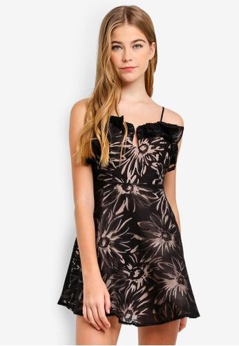 INDIKAH black Ruffle Neckline Mesh Overlay Dress 1D4E2AA38AD4BEGS_1
