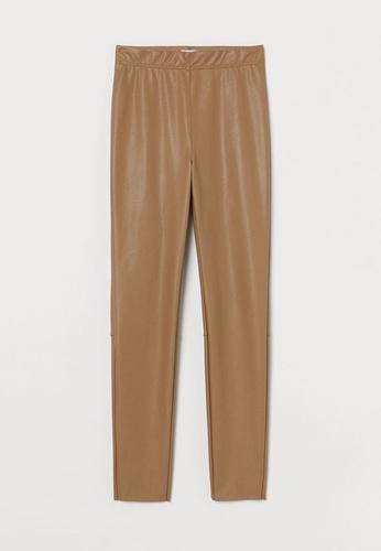 H&M beige Imitation Leather Leggings 71C8DAA61F0956GS_1
