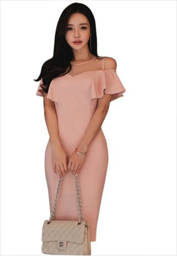 Sunnydaysweety pink S/S New Ruffle shoulder Pink One Piece Dress UA031991-0 66605AAF2755ACGS_1