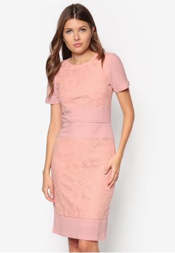 異材質拼接短esprit au袖洋裝, 服飾, 洋裝