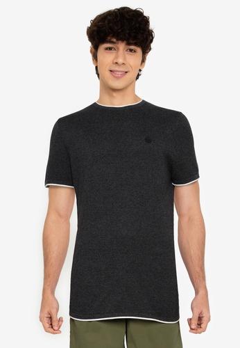Springfield black Short-Sleeved Twisted Yarn Tee 0A86DAA8E44E57GS_1