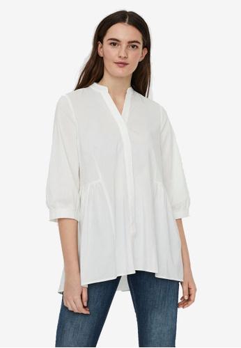 Vero Moda white Clara 3/4 Long Shirt E7431AA92CA812GS_1