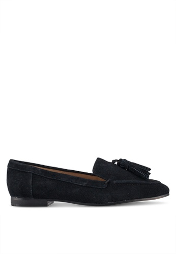 TOPSHOP 黑色 Lexi Suede Loafers D52FBSHD4BD2B4GS_1