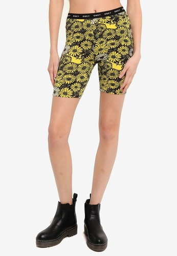 OBEY yellow Uptown Biker Shorts 089CFAA3445F49GS_1