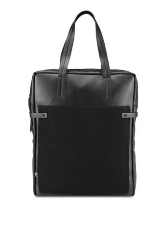 ZALORA black Mix Materials Tote Bag 9B9D4ACE3E150AGS_1