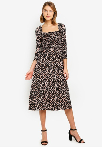 8a9b9dae43dbda Buy Dorothy Perkins Black Orange Floral Shirt Dress | ZALORA HK