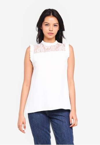 Dorothy Perkins white Ivory Lace Mix Sleeveless Top 560D4AAB34D7BAGS_1