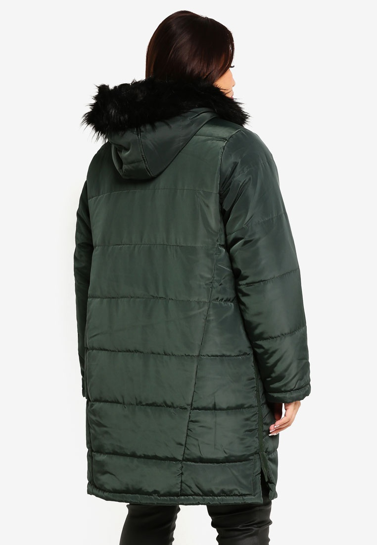 Coat Faux INK Green Size PLUS Plus Hood LOST With Padded Fur xq1Pp0RwX