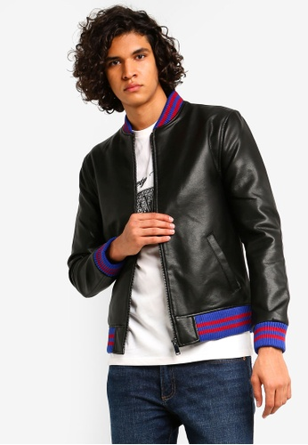 e4c74bc0b Faux Leather Tipped Bomber Jacket