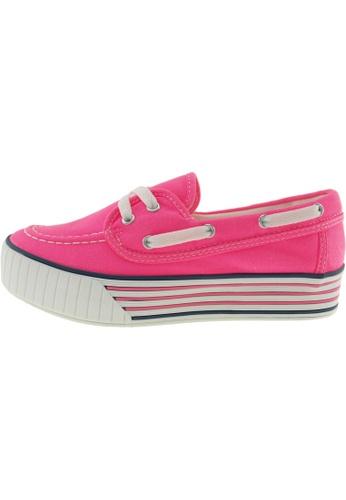 Maxstar 粉紅色 新款韩国鞋C30-Boat時尚帆布布混合女粉紅色 US Women Size MA345SH57HCOTW_1
