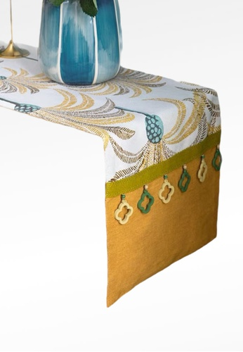 Ayra Home & Living yellow and green Pineapple Design Table Runner Drape 1B56AHLDD7567AGS_1