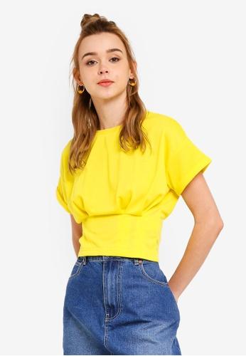 Something Borrowed 黃色 褶飾下擺T恤 0E5B0AA70CB657GS_1