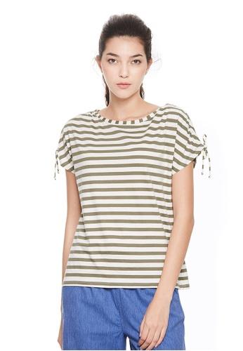 Sisley green Striped T-shirt 0826DAA4870300GS_1