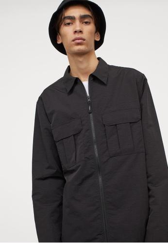 H&M black Shirt Jacket 3DEB6AAEE39A5DGS_1