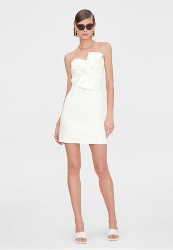 Pomelo white Sweetheart Ruched Bow Dress - White 9DE42AAAE34F12GS_1