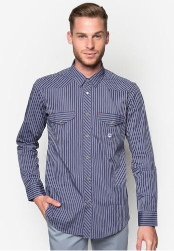 雙口袋條紋長尖沙咀 esprit outlet袖襯衫, 服飾, 襯衫