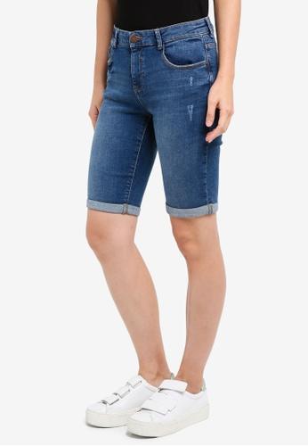 Dorothy Perkins blue Washed Indigo Knee Shorts 1E322AA2612A87GS_1