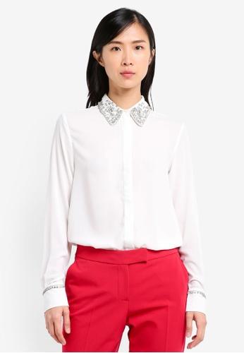 TOPSHOP white Embellished Collar Shirt TO412AA0SRROMY_1