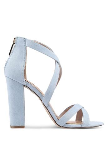 Miss KG 藍色 麂皮交叉繞帶粗跟鞋 E7ADBSHCC6AAB9GS_1