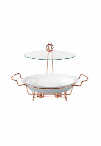 Slique white Oval Casserole Serving Dish W/ 2 Burner 2700ml E03C4HLAF539DFGS_1