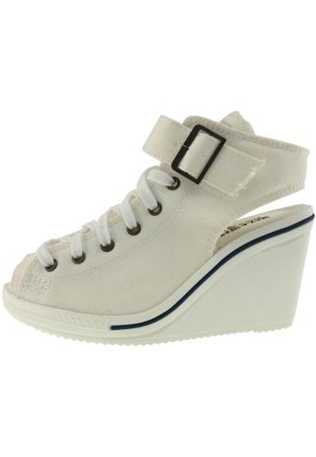 Maxstar 白色 新款韩国鞋775-Open時尚帆布布混合女白色 US Women Size MA345SH82HBPTW_1