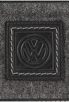 Volkswagen 真皮帆布拼接對折皮夾