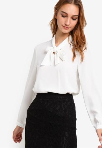 繫帶領長袖襯衫, 服esprit hk分店飾, 上衣