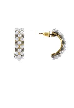 【ZALORA】 Pearl Encrusted Curve Stud Earrings