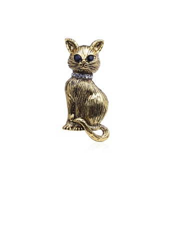 Glamorousky black Simple and Cute Plated Gold Cat Brooch with Cubic Zirconia D828AACD3C4645GS_1