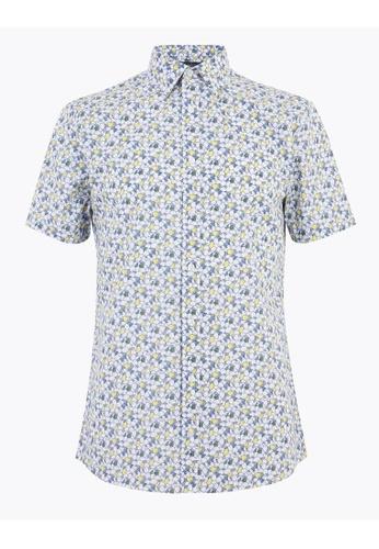 MARKS & SPENCER yellow M&S Slim Fit Lemon Print Shirt EDE84AACD2786AGS_1
