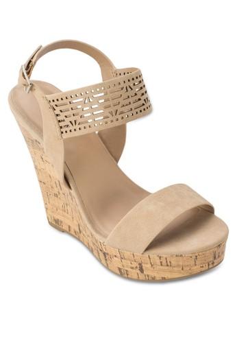 Tzalora taiwan 時尚購物網鞋子iradien 雕花踝帶木製楔形鞋, 女鞋, 楔形鞋