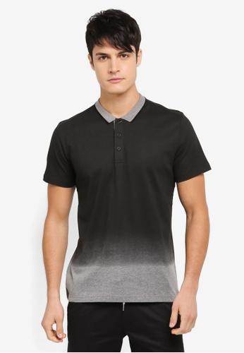ZALORA black and multi Printed Gradient Polo Shirt A9F6FAABE5B4F7GS_1