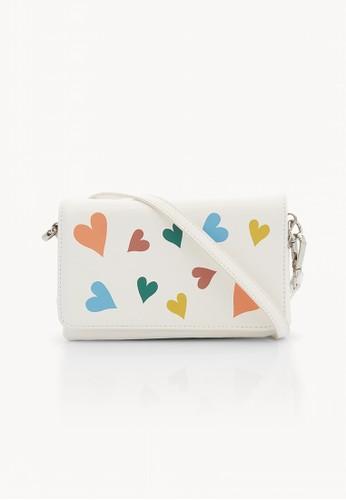 Pomelo white Heart Foldover Crossbody Bag - White 0B0F9AC344BE02GS_1