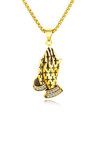 ADORA black Stainless Steel Gold Pendent Necklace 8CACFAC64C8632GS_1