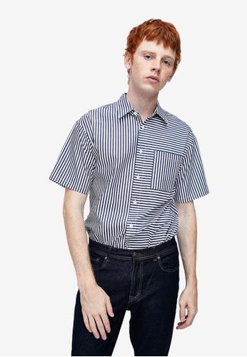 Urban Revivo blue Short Sleeve Printed Shirt 59D7EAA068A267GS_1