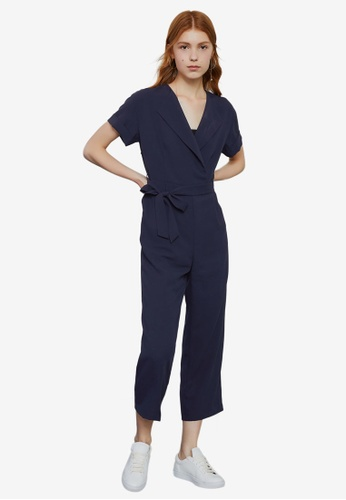 Hopeshow navy Short Sleeve Jumpsuit With Tie Belt AD673AAE128F51GS_1