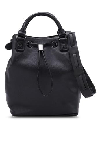 ZALORA black Drawstring Bucket Bag B02B0ZZC53FA15GS_1