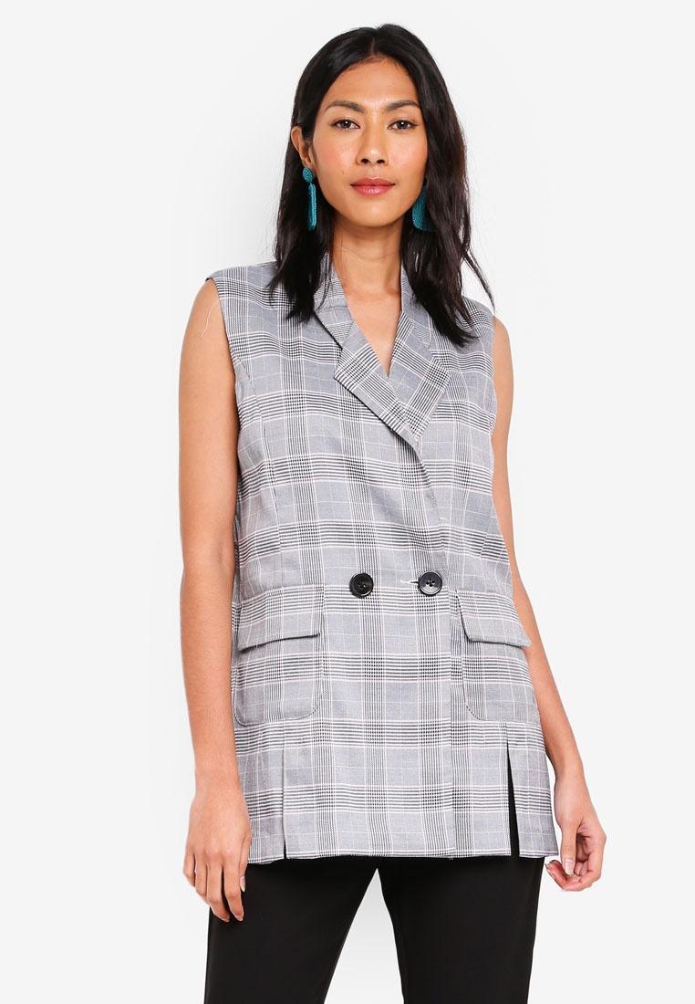 Vest Grey Plaid bYSI bYSI Button Plaid xwI8RqO