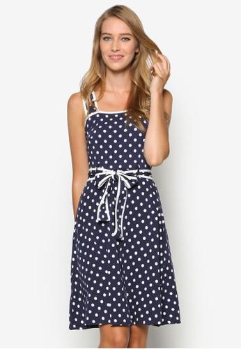 點點zalora taiwan 時尚購物網印花繫帶洋裝, 服飾, 洋裝