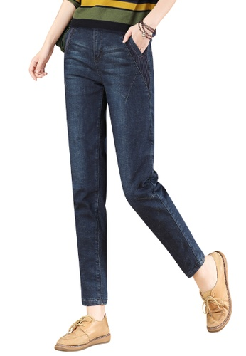 A-IN GIRLS navy Elastic Waist Warm Jeans (Plus Cashmere) 0ED95AA3854779GS_1