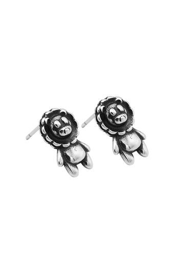 LYCKA silver LDR1354 S925 Silver Cute Lion Stud Earrings E7DAEAC86D2C66GS_1