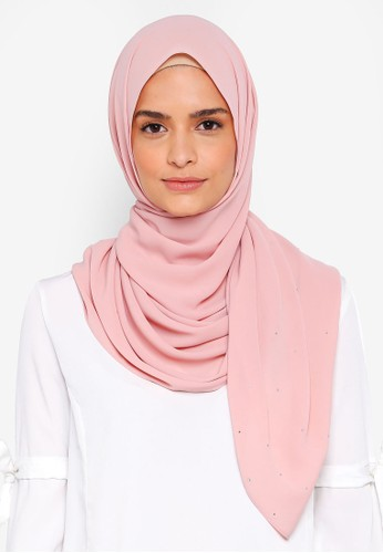 Lubna pink Chiffon With Crystal Shawl A5A4EAA3246FBDGS_1