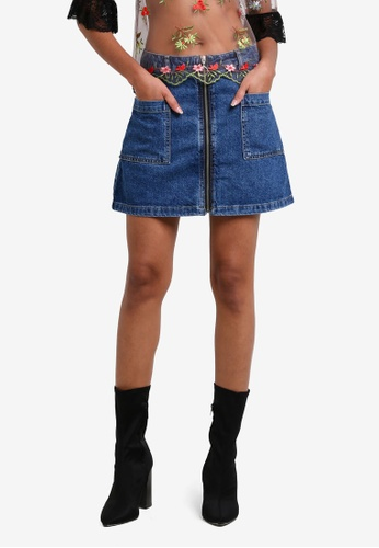 TOPSHOP blue MOTO Patch Pocket A-Line Skirt TO412AA0RY3RMY_1
