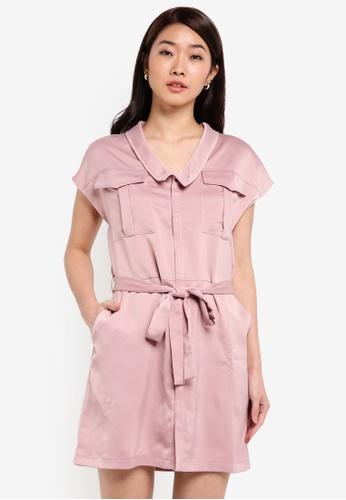ZALORA pink Sleek Satin Utility Dress F021CAA9075B32GS_1