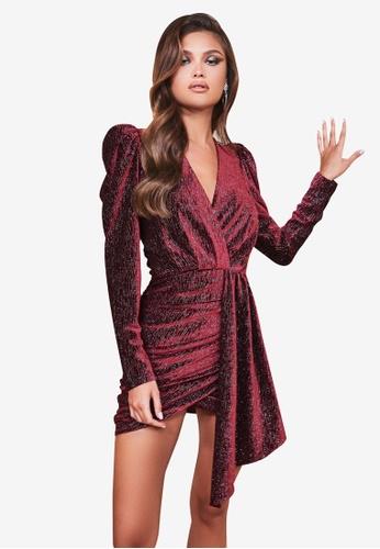 Lavish Alice red Diamante Velvet Wrap Mini Dress B8B07AAFA9F191GS_1