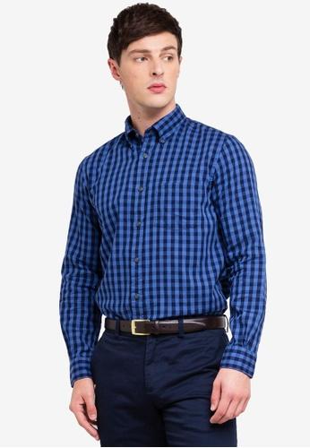 Brooks Brothers 海軍藍色 格紋口袋襯衫 3A15AAA7F37324GS_1