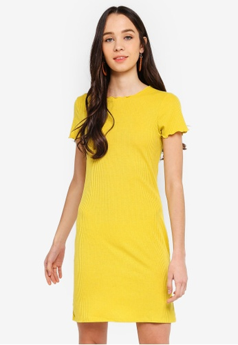 Cotton On yellow Gracie Lettuce Edge T-Shirt Dress 13F93AAAF64ABFGS_1