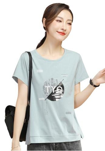 A-IN GIRLS blue Fashion Embroidery All-Match T-Shirt 6B6E1AAEB6F721GS_1